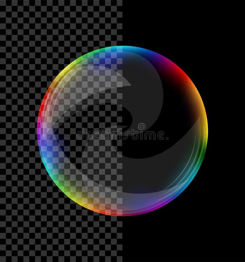 Mydlany bąbel z zawijasami barwił przejrzystego ilustracja wektor