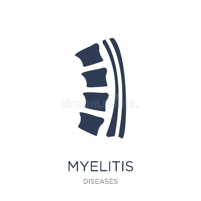 Myelitis象 在白色backgro的时髦平的传染媒介Myelitis象 库存例证