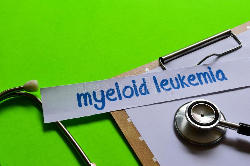 Myeloid leukemia on Healthcare concept with green background royalty free stock photos