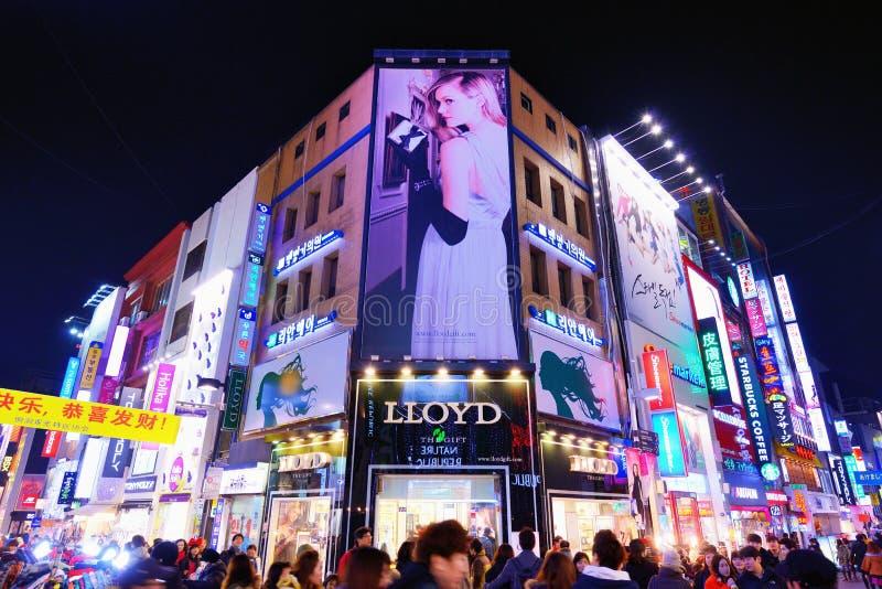 Luces de neón de Seul fotos de archivo