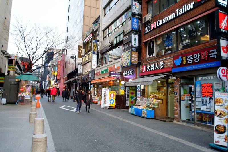 Myeong-Dong, SEUL, COREA DEL SUR fotografía de archivo libre de regalías