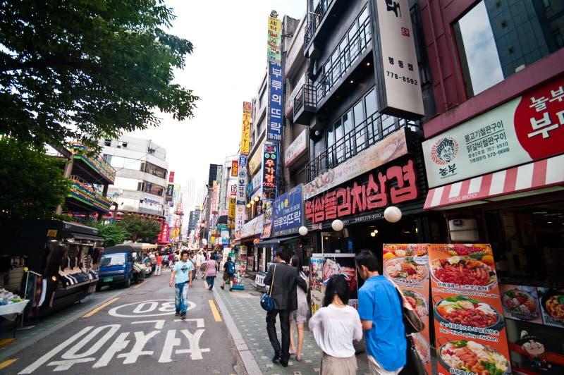 Myeongdong-Bezirk in Seoul stockfotografie