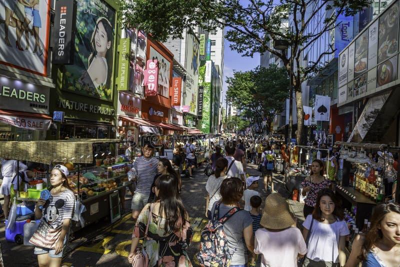 Myeongdong sąsiedztwo w Seul zdjęcie stock
