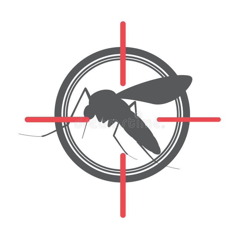 Mygga på mål stock illustrationer