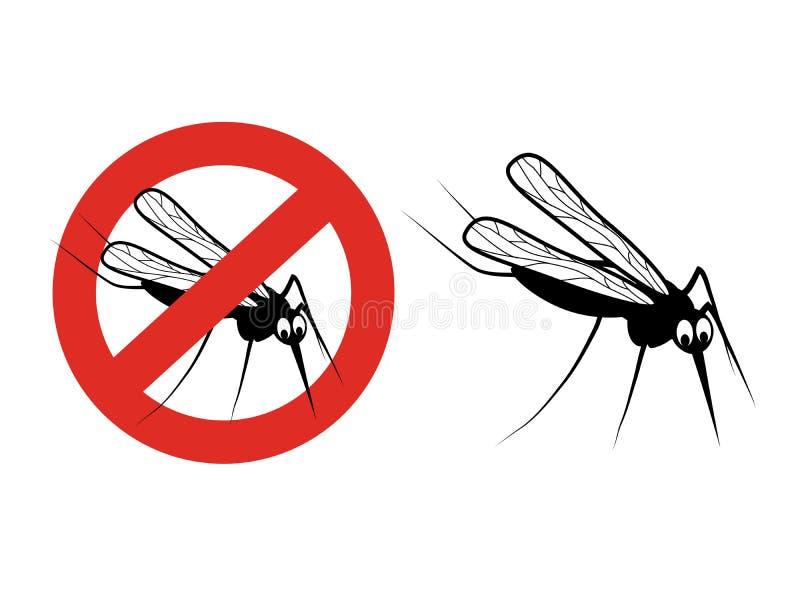 Mygga på vit bakgrund Knottkontur Symbol av stoppflygkryp Tecken av förbudet på en myggaimpregneringsmedel vektor illustrationer