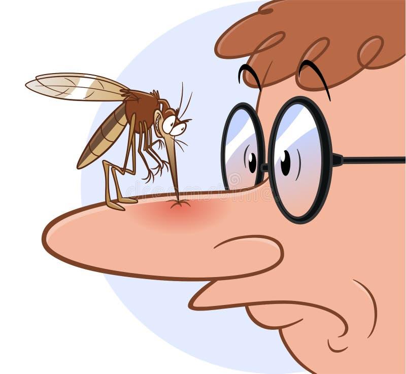 Mygga som biter näsan vektor illustrationer