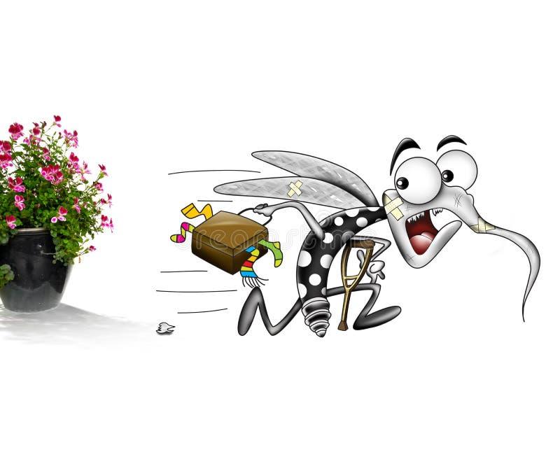 Mygga som flyr den lade in växten royaltyfri illustrationer