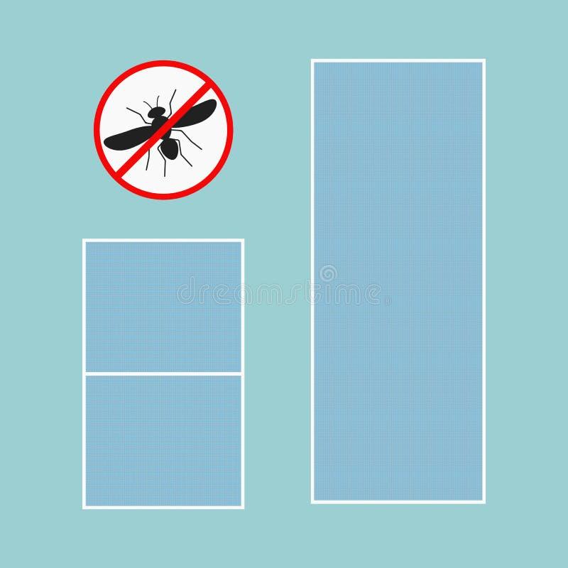 Myggnät med ramen för pvc-fönstersymbol och symbol vektor illustrationer