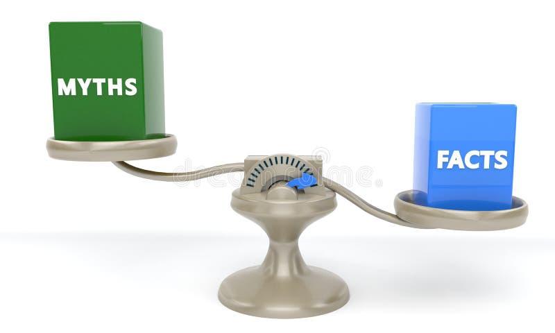 Myhts и концепция фактов, 3d стоковое фото