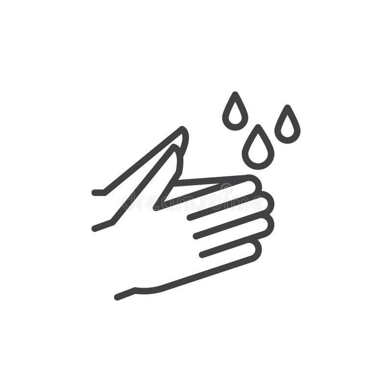 Myje ręki linii ikonę, konturu wektoru znak, liniowy stylowy piktogram odizolowywający na bielu ilustracji