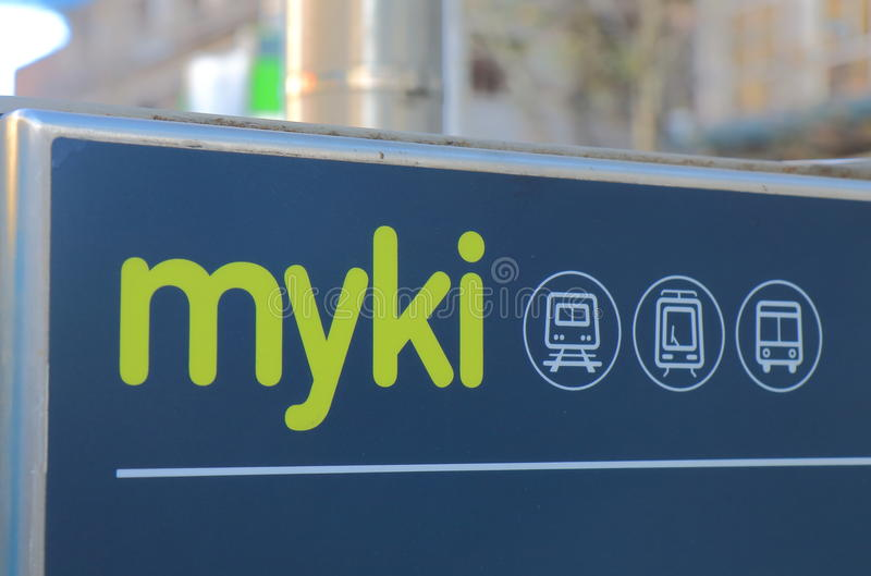 Myki jawny transport Melbourne Australia obraz stock
