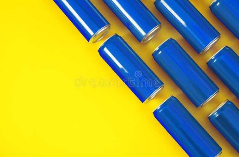 MYKOLAIV, УКРАИНА - 14-ОЕ НОЯБРЯ 2018: Консервные банки кока-колы на предпосылке цвета, плоском положении стоковое изображение