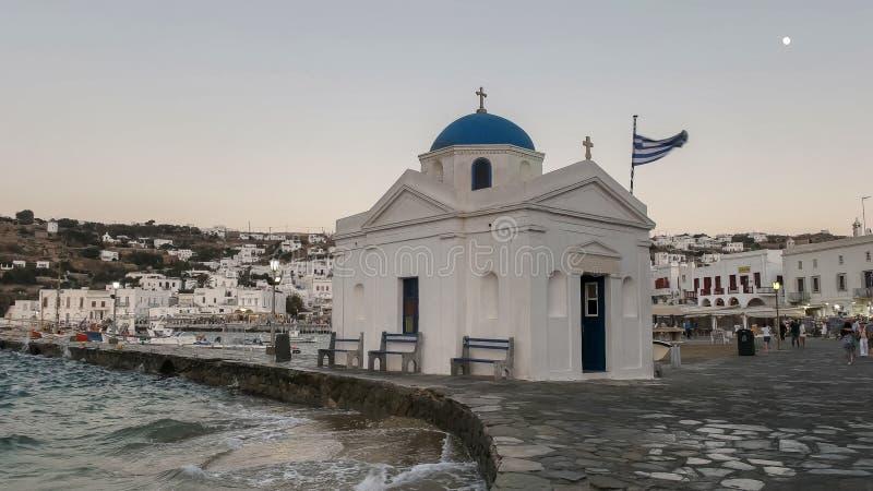 MYKONOS, ГРЕЦИЯ 13-ОЕ СЕНТЯБРЯ 2016: церковь nikolakis ажио в chora на греческом острове mykonos стоковая фотография rf