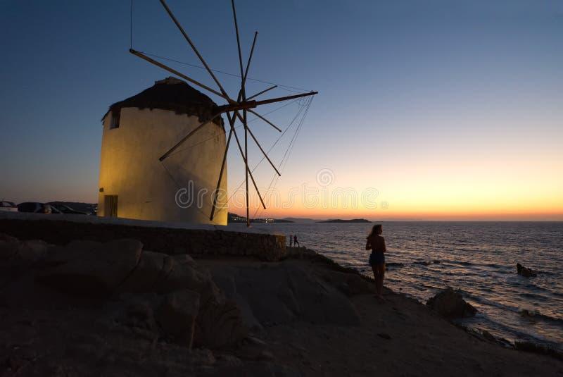 Mykonos к ноча - Эгейское море - Киклады - Греция стоковые фото