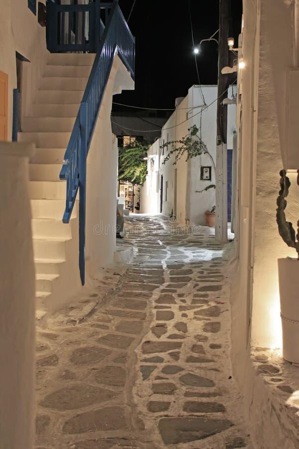 Mykonos Alley at Night stock photos
