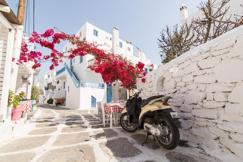 MYKONOS, GREECE - MAY 2018: View over the old cobbled street in Mykonos town district Little Venice royalty free stock images