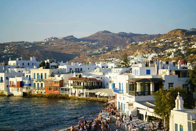 Mykonos, Greece, 11 September 2018, Little Venice is the most crowded tourist spot in Chora stock photo
