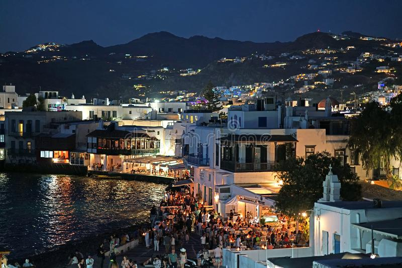 Mykonos, Greece, September 07 2018, Picturesque evening view of Little Venice in Chora full of tourists from all the world stock photo