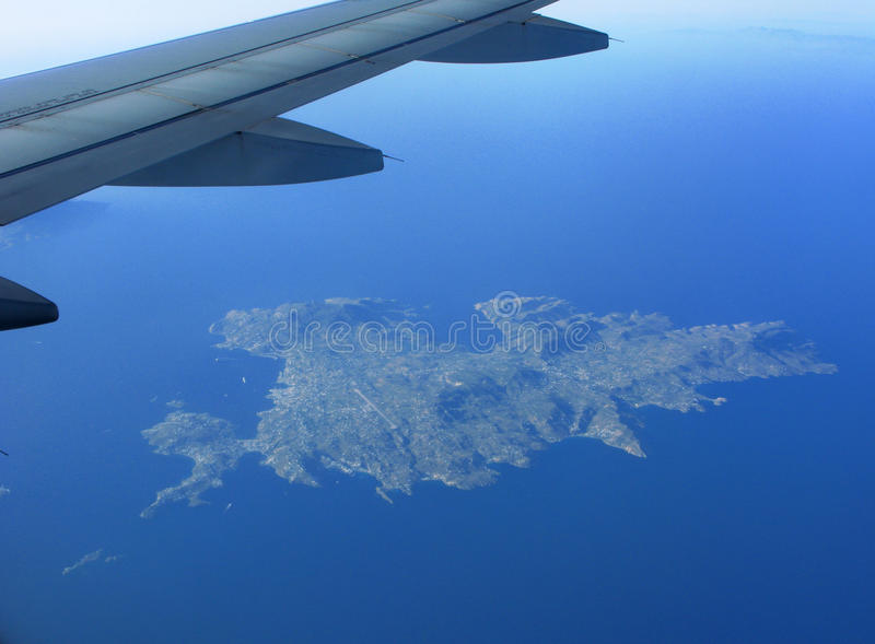 Mykonos Island. Flying over Mykonos Island, Greece royalty free stock image