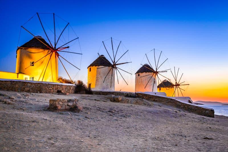 Mykonos, moulin à vent de Kato Mili, Grèce image libre de droits