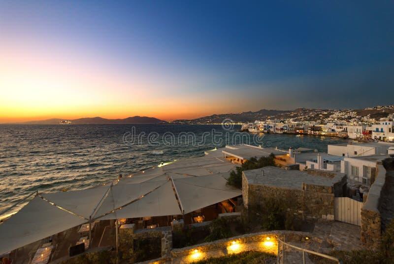Mykonos na noite - Mar Egeu - Cyclades - Grécia fotos de stock