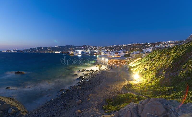 Mykonos na noite - Mar Egeu - Cyclades - Grécia fotos de stock royalty free