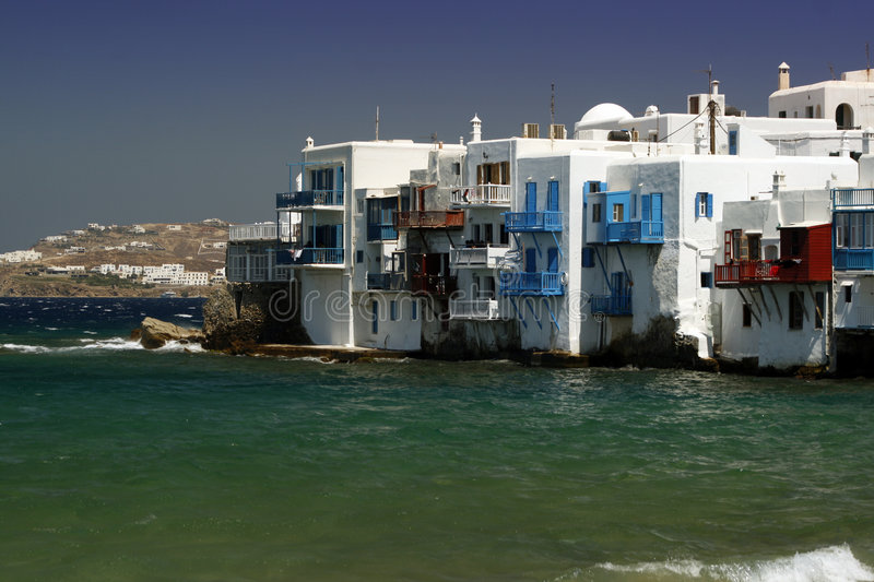 Mykonos - Small Venice. The area of small venice at the island of Mykonos, Greece royalty free stock images