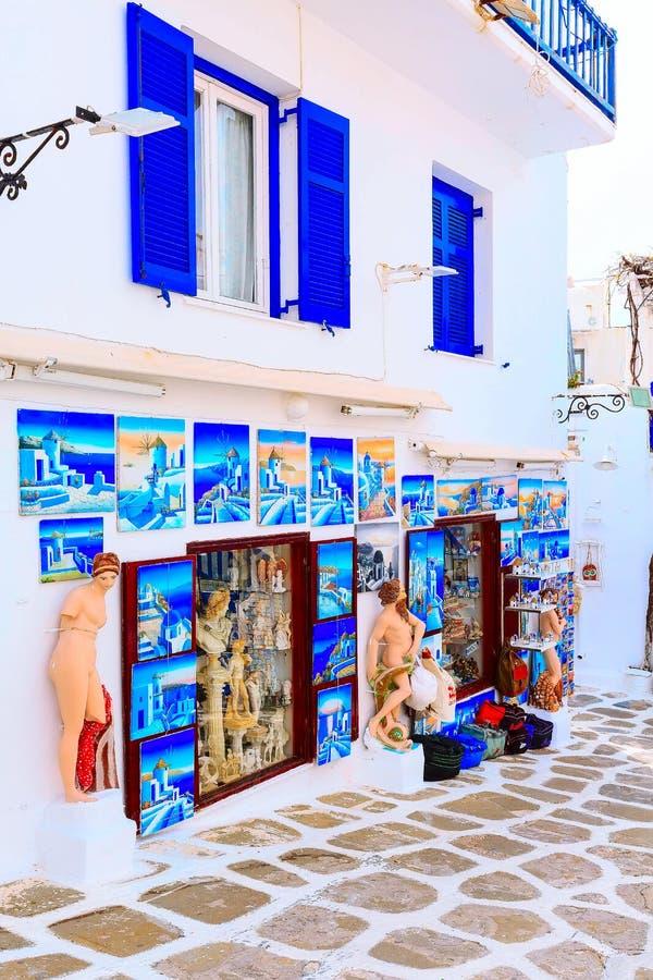 Mykonos uliczny widok w Grecja, Cyclades obraz royalty free