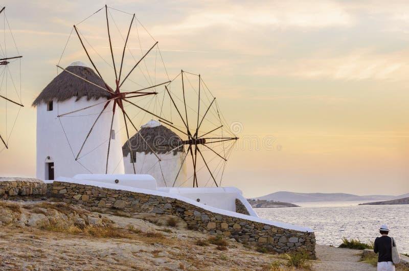 Mykonos wiatraczki, Chora, Grecja zdjęcie stock