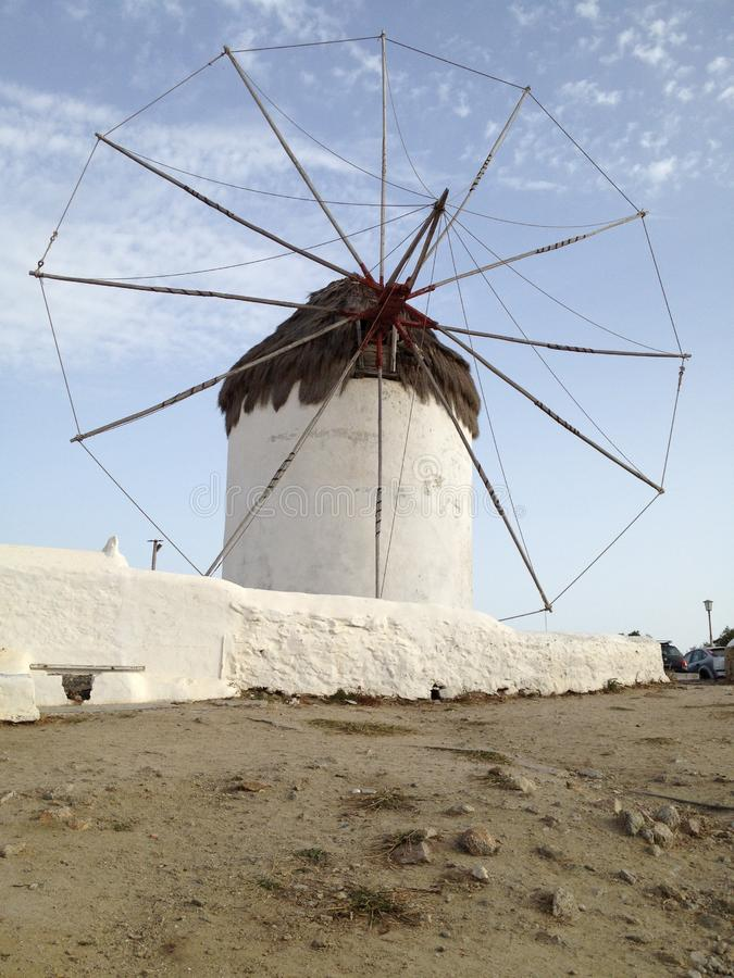 Mykonos Windmills in Chora. Windmill in Chora, Mykonos, Greece, pristine one windmill on a balmy summer`s afternoon, lone single windmill stock images
