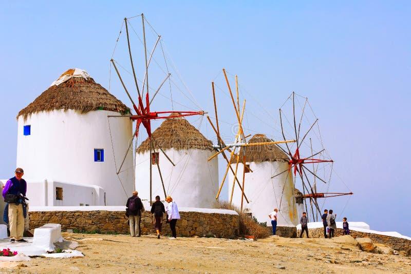 Mykonos wyspy wiatraczki w Grecja, Cyclades fotografia stock