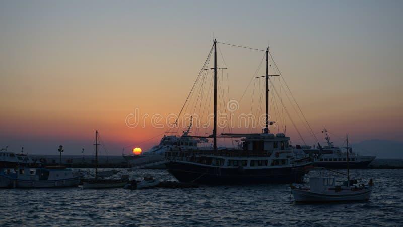 Mykonoshaven, Mykonos-Eiland, Griekenland stock afbeelding
