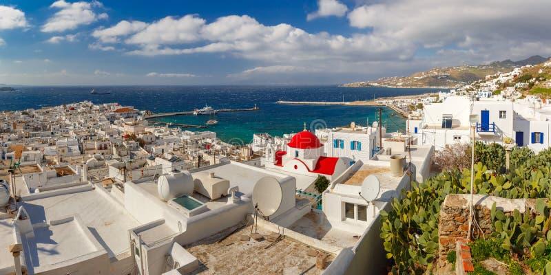 Mykonosstad, Chora op eiland Mykonos, Griekenland stock foto