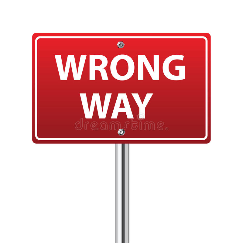 Mylny sposobu ruchu drogowego znak ilustracji