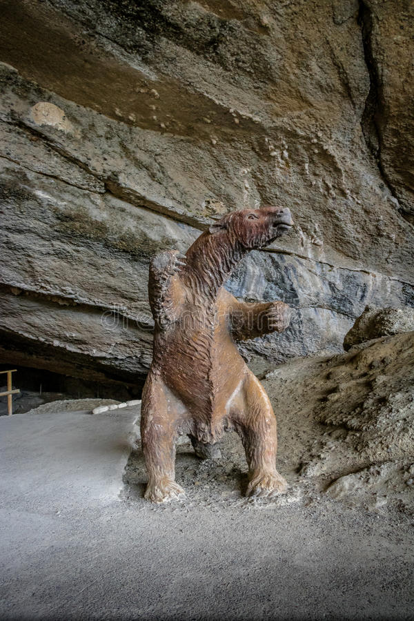 Mylodon pre-historic giant sloth Model at entrance of Milodon Cave - Patagonia, Chile royalty free stock photography