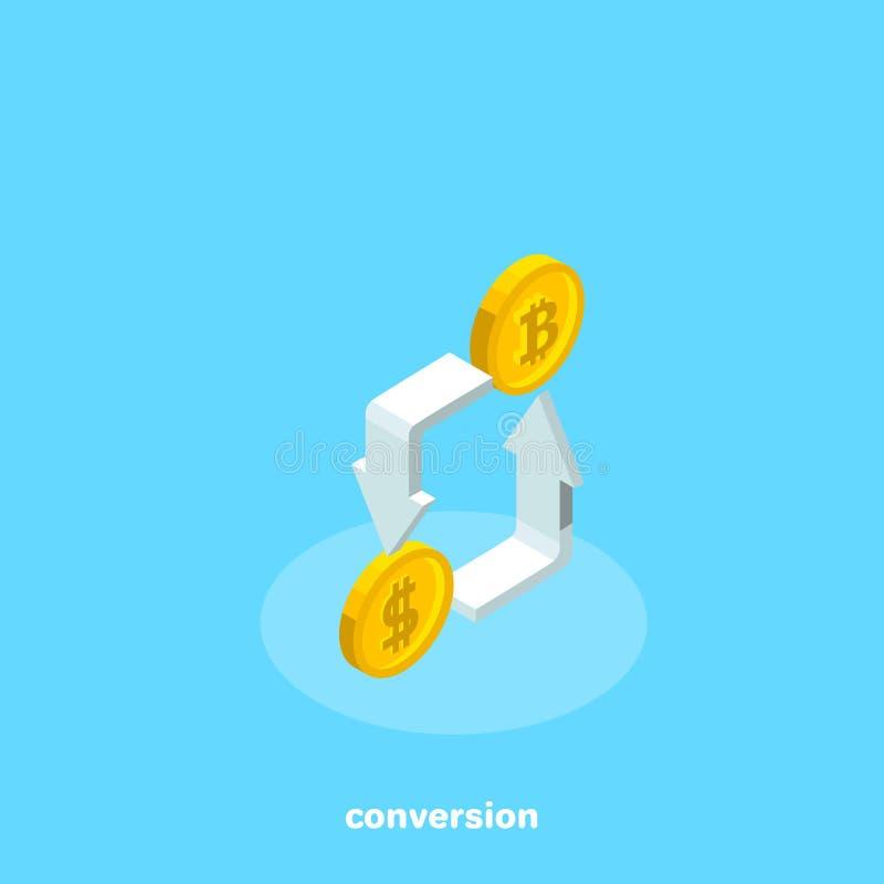 Mynt av dollaren och bitcoin med pilar royaltyfri illustrationer