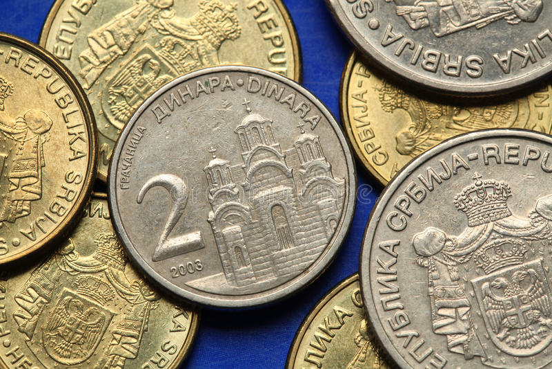 Mynt av Serbien royaltyfri bild