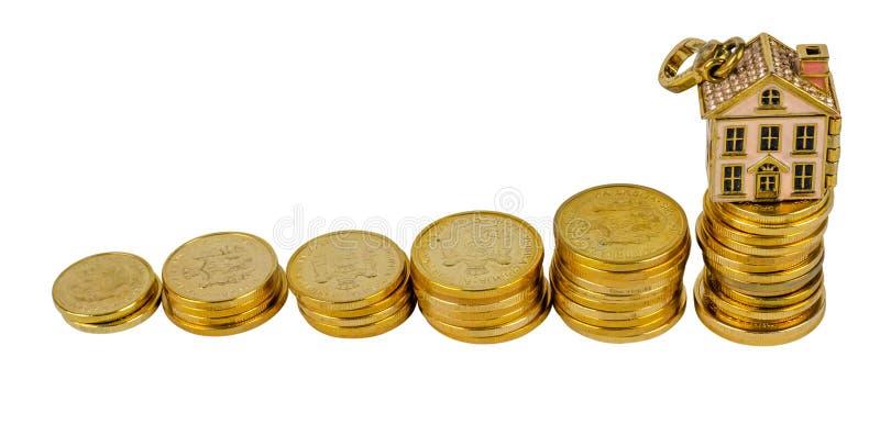 Mynt av serbiska pengar med ett husdiagram royaltyfri bild