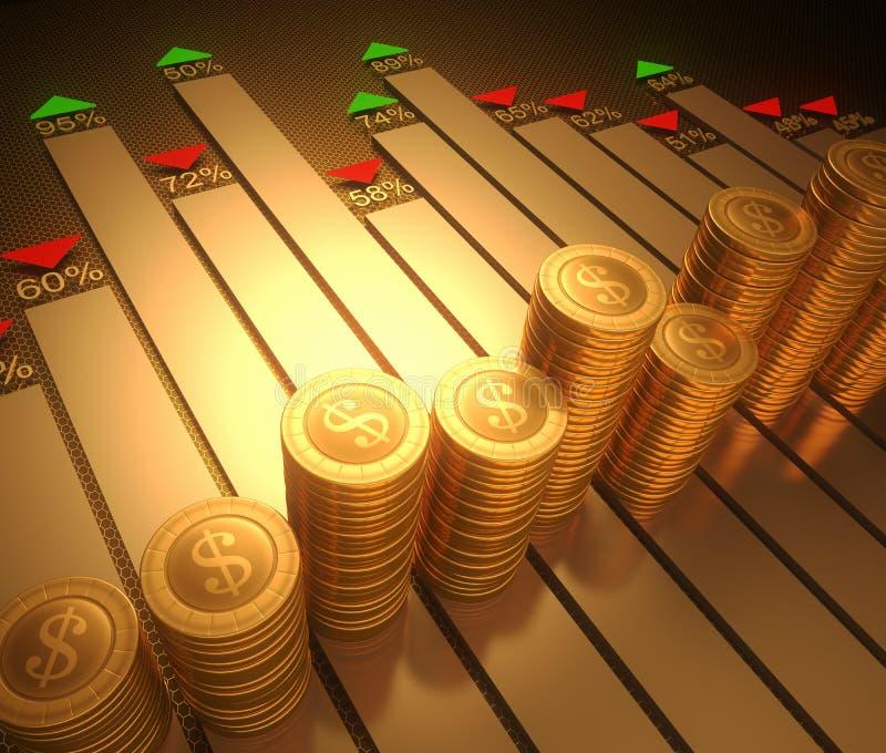 mynt besegrar grafmarknadsblyertspennan som det röda sndmaterielet ups royaltyfri illustrationer