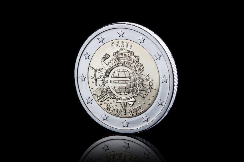 mynt Euromynt som isoleras på svart bakgrund royaltyfri fotografi