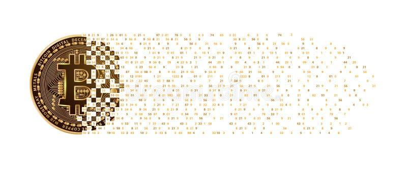 Mynt för Bitcoin fallande siffror för digitalt valuta guld- royaltyfri illustrationer