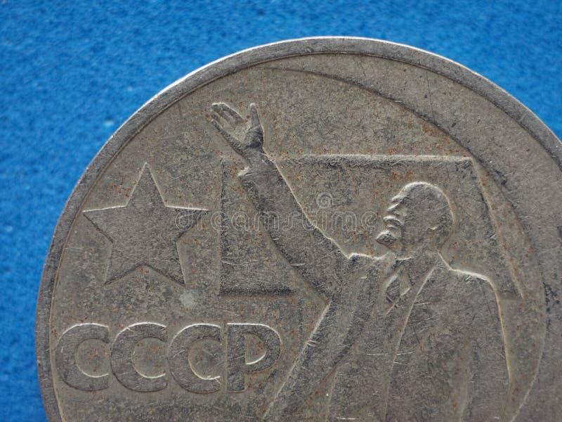 Mynt för CCCP (SSSR) med Lenin arkivfoto