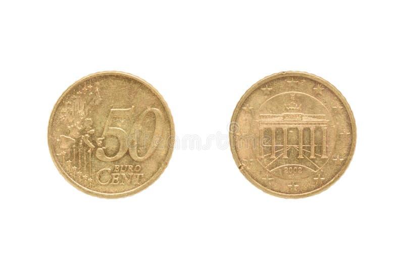 Mynt för cent för euro femtio på det omvänt av den Brandenburg porten arkivbild