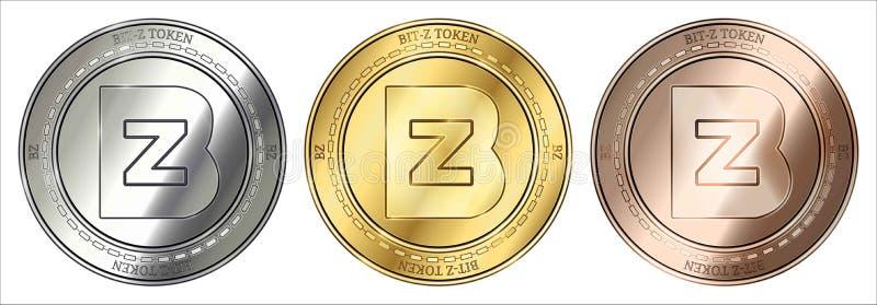 Mynt för cryptocurrency för BZ för guld-, silver- och bronsbit-ztecken myntuppsättning arkivfoton
