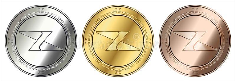 Mynt för cryptocurrency för guld-, silver- och bronsVINANDEVINANDE myntuppsättning stock illustrationer