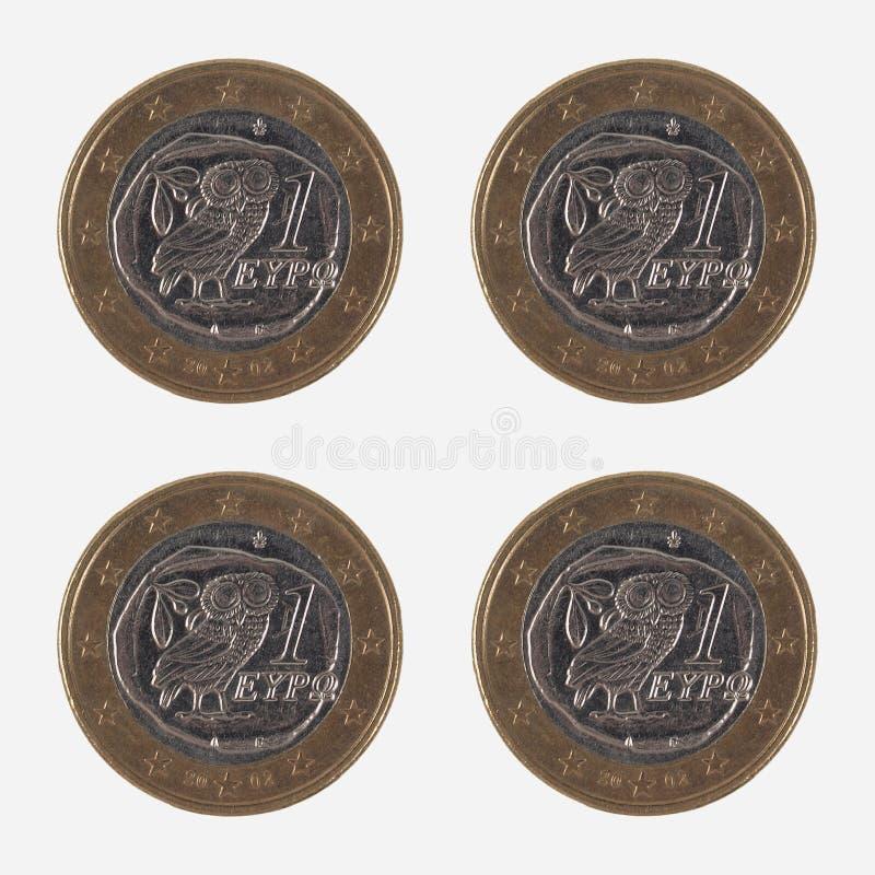 Mynt för 1 EUR från Grekland royaltyfri foto