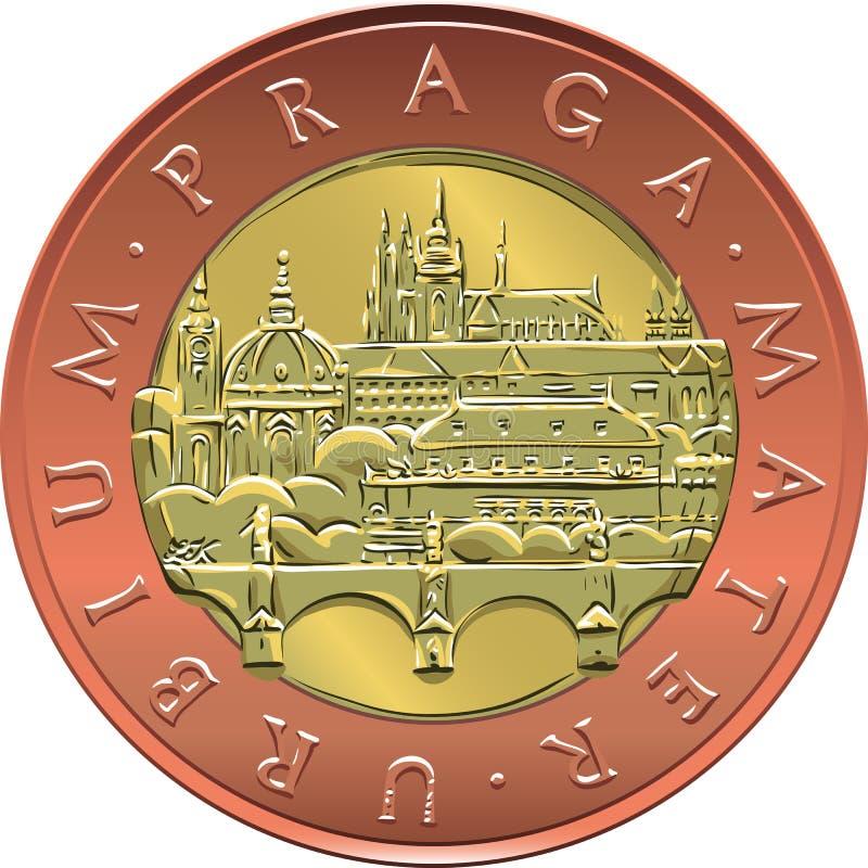 Mynt för gamla käringar för pengar tjugo för vektor guld- tjeckiskt vektor illustrationer