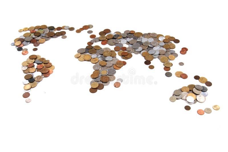 mynt för gammal värld som världskarta royaltyfri foto