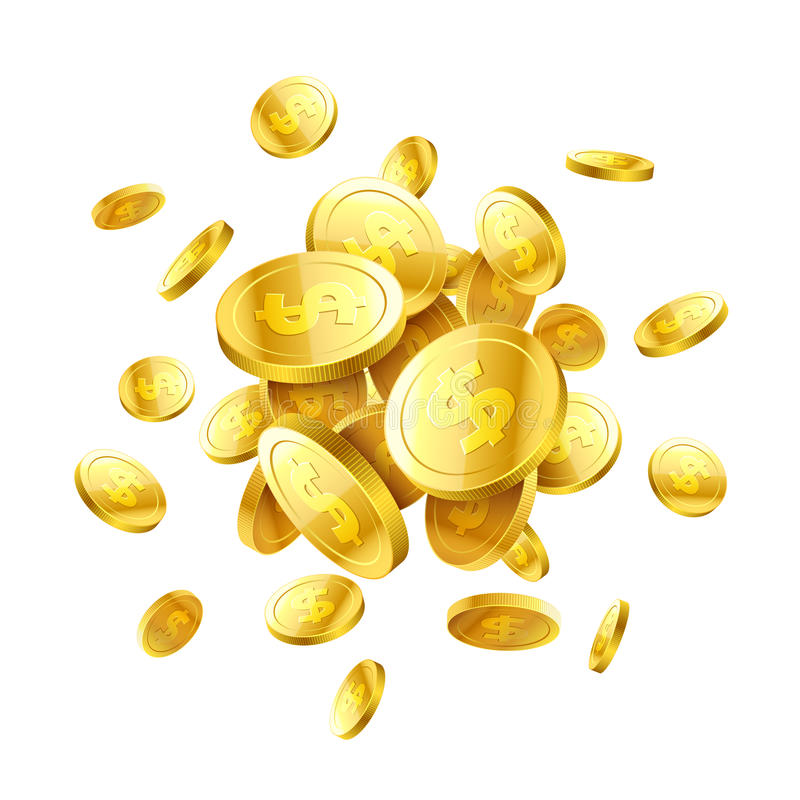 Mynt för guld 3d stock illustrationer