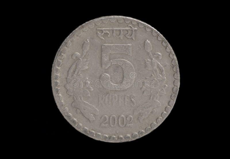 Mynt för indisk rupie fem arkivbild